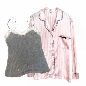 VS Satin Stripe Button Up & Lace Cami Bundle